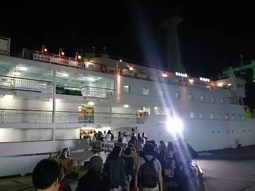 御蔵島へは夜行船で行きます