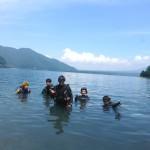 本栖湖で記念撮影